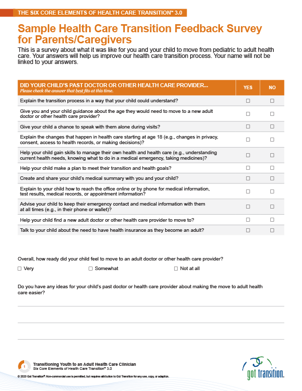 Sample Health Care Transition Feedback Survey for Parents/Caregivers Thumbnail