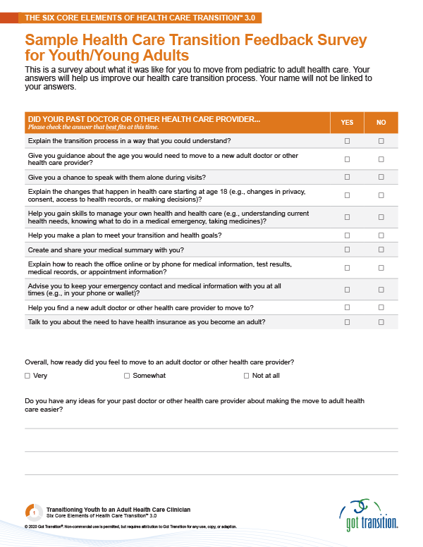 Sample Health Care Transition Feedback Survey for Youth/Young Adults Thumbnail