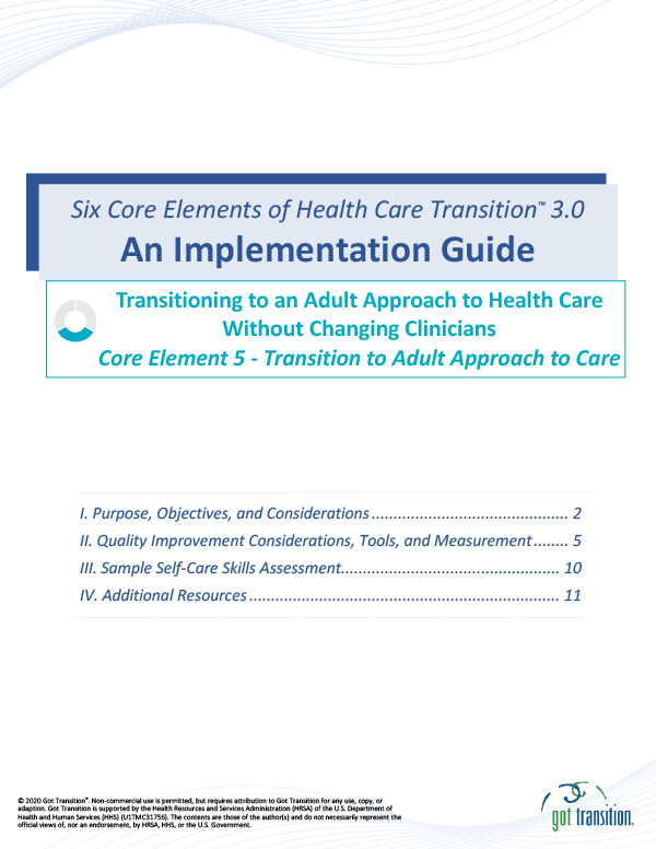 Implementation Guide: Transition to Adult Approach to Care Thumbnail
